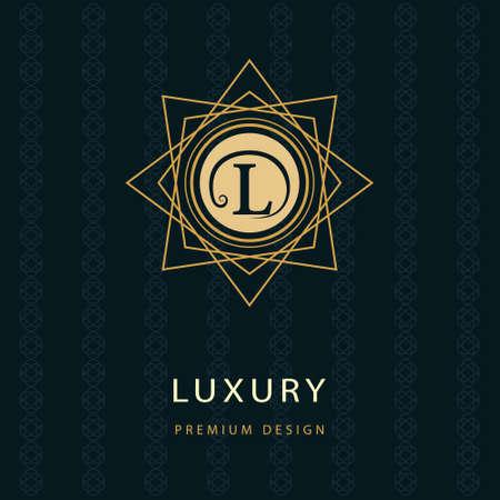 Vector illustration of Monogram design elements, graceful template. Calligraphic elegant line art logo design. Letter emblem L. Business sign for Royalty, Boutique, Cafe, Hotel, Heraldic, Jewelry, Wine. Ilustracja