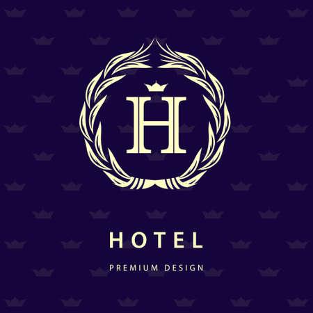 crest: Vector illustration of Monogram design elements, graceful template. Elegant line art  design. Letter H. Retro Vintage Insignia or . Business sign, identity, label, badge, Cafe, Hotel.
