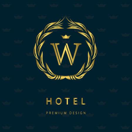 Vector illustration of Monogram design elements, graceful template. Elegant line art  design. Letter W. Retro Vintage Insignia or . Business sign, identity, label, badge, Cafe, Hotel. Illustration