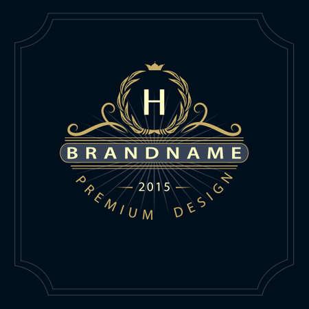 Vector illustration of Monogram design elements, graceful template. Calligraphic elegant line art  design. Letter emblem H for Royalty, business card, Boutique, Hotel, Restaurant, Cafe, Jewelry. Stock Illustratie