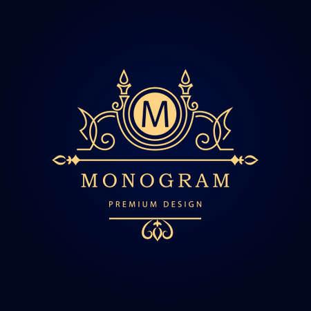 Vector illustration of Monogram design elements, graceful template. Calligraphic elegant line art  design. Letter emblem M for Royalty, business card, Boutique, Hotel, Restaurant, Cafe, Jewelry. Stock Illustratie