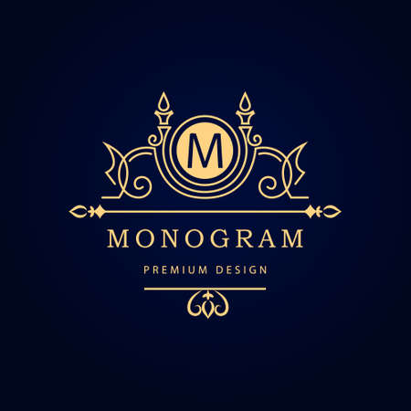 antique: Vector illustration of Monogram design elements, graceful template. Calligraphic elegant line art  design. Letter emblem M for Royalty, business card, Boutique, Hotel, Restaurant, Cafe, Jewelry. Illustration