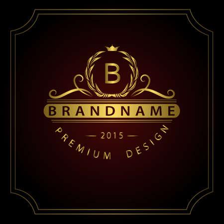モノグラム デザイン要素、優雅なテンプレートのベクター イラストです。書道の優雅なライン アート デザイン。皇族、ビジネス カードのための金