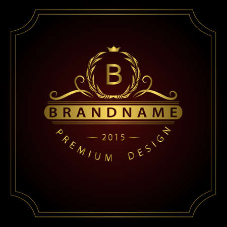 Vector illustration of Monogram design elements, graceful template. Calligraphic elegant line art  design. Gold Letter emblem B for Royalty, business card, Boutique, Hotel, Restaurant, Cafe, Jewelry. Stock Illustratie