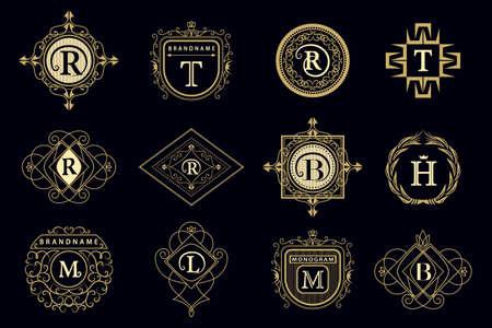 mascot: Vector illustration of Monogram design elements, graceful template. Calligraphic elegant line art icon design Letter emblem M, B, R, H, T, L for Royalty, business card, Boutique, Hotel, Restaurant