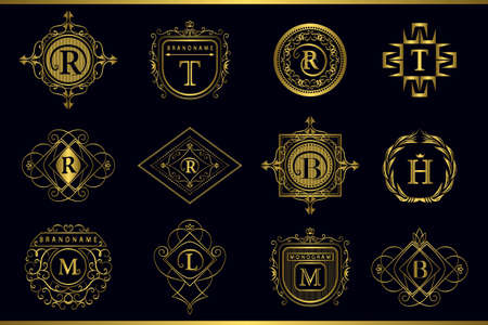 b: Vector illustration of Monogram design elements, graceful template. Calligraphic elegant line art icon design. Gold Letter emblem M, B, R, H, T, L for Royalty, business card, Boutique, Hotel, Restaurant