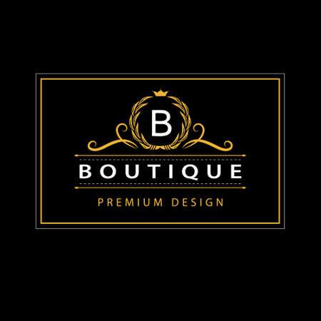 Vector illustration of Monogram design elements, graceful template. Elegant line art icon design. Business sign, identity for Restaurant, Royalty, Boutique, Cafe, Hotel, Heraldic, Jewelry, Fashion Stock Illustratie