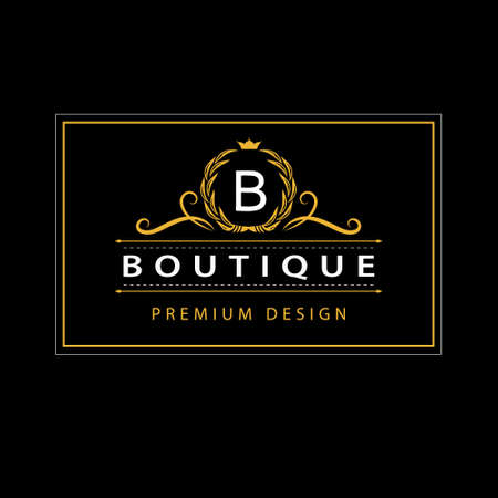 Vector illustration of Monogram design elements, graceful template. Elegant line art icon design. Business sign, identity for Restaurant, Royalty, Boutique, Cafe, Hotel, Heraldic, Jewelry, Fashion Çizim
