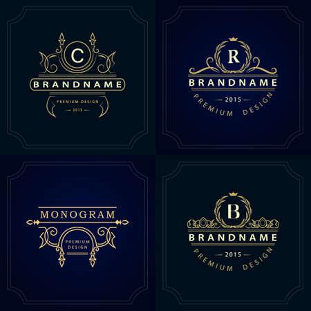 Vector illustration of Monogram design elements, graceful template. Calligraphic elegant line art icon design. Letter emblem sign B, R, C for Royalty, business card, Boutique, Hotel, Heraldic, Jewelry