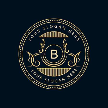 boutique hotel: Ilustración vectorial de elementos de diseño del monograma, plantilla elegante. Caligráfica elegante diseño icono de la línea de arte. Carta signo emblema B de imágenes, tarjetas de visita, Boutique, Hotel, Restaurante, Café, Joyería