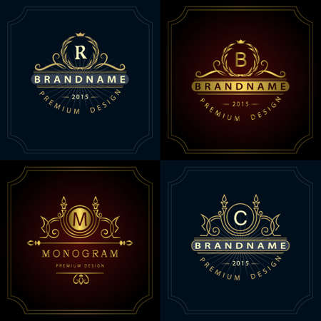 Vector illustration of Monogram design elements, graceful template. Calligraphic elegant line art icon design. Letter emblem B, R, M, C for Royalty, business card, Boutique, Hotel, Heraldic, Jewelry