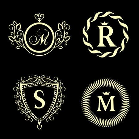 Vector illustratie van Monogram design elementen, sierlijke sjabloon. Elegante lijn art design icoon. Bedrijfsteken, identiteit voor Restaurant, Royalty, Boutique, Cafe, Hotel, heraldisch, sieraden, mode Stock Illustratie