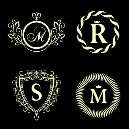 Vector illustration of Monogram design elements, graceful template. Elegant line art icon design. Business sign, identity for Restaurant, Royalty, Boutique, Cafe, Hotel, Heraldic, Jewelry, Fashion Ilustração
