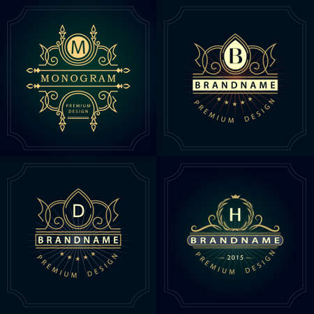 m hotel: Vector illustration of Monogram design elements, graceful template. Calligraphic elegant line art icon design. Letter emblem B, D, M, H for Royalty, business card, Boutique, Hotel, Heraldic, Jewelry Illustration
