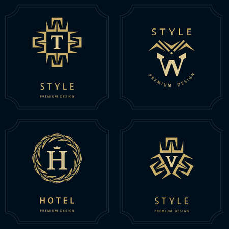 decorative letter: Vector illustration of Monogram design elements, graceful template. Calligraphic elegant line art icon design. Letter emblem T, W, V, H for Royalty, business card, Boutique, Hotel, Heraldic, Jewelry