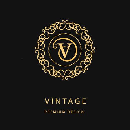 Vector illustration of Monogram design elements, graceful template. Calligraphic elegant line art icon design. Letter emblem sign V for Royalty, business card, Boutique, Hotel, Restaurant, Cafe, Jewelry