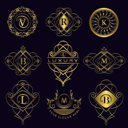 Vector illustration of Monogram design elements, graceful template. Calligraphic elegant line art icon design. Letter emblem B, L, M, V, R, K for Royalty, business card, Boutique, Hotel, Heraldic  イラスト・ベクター素材