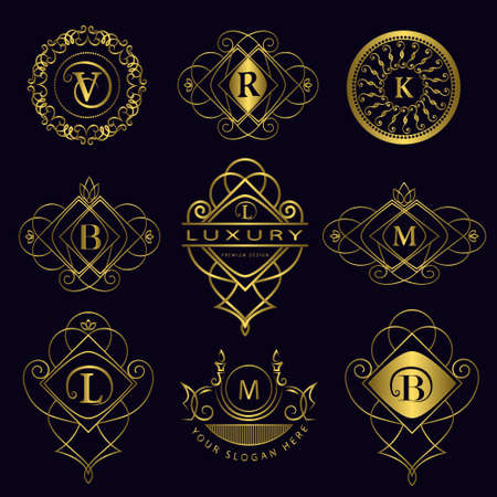 Vector illustration of Monogram design elements, graceful template. Calligraphic elegant line art icon design. Letter emblem B, L, M, V, R, K for Royalty, business card, Boutique, Hotel, Heraldic Çizim