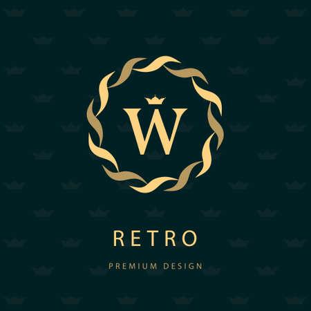 Ilustración vectorial de elementos de diseño del monograma, plantilla elegante. Línea de elegante diseño icono del arte. Carta emblema W. Retro Insignia o icono de la vendimia. Rótulo de establecimiento, la identidad, la etiqueta, insignia, Cafe Hotel
