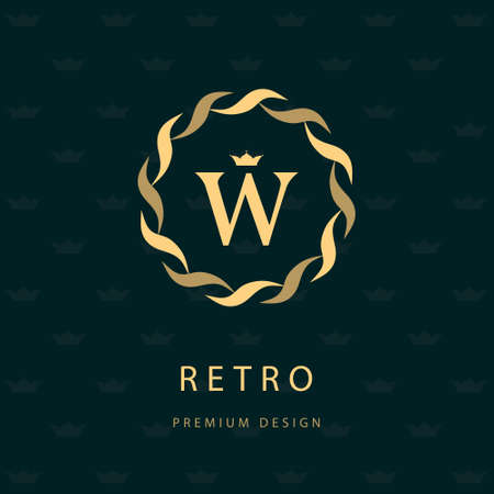 Vector illustratie van het Monogram design elementen, sierlijke sjabloon. Elegante lijntekeningen pictogram ontwerp. Brief embleem W. Retro Vintage Insignia of pictogram. Uithangbord, identiteit, label, kenteken, Cafe, Hotel Stockfoto - 44062565