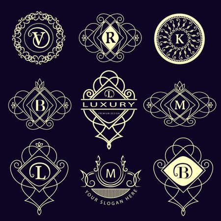 モノグラム デザイン要素、優雅なテンプレートのベクター イラストです。書道の優雅なライン アート アイコン デザイン。文字エンブレム B、L、M  イラスト・ベクター素材