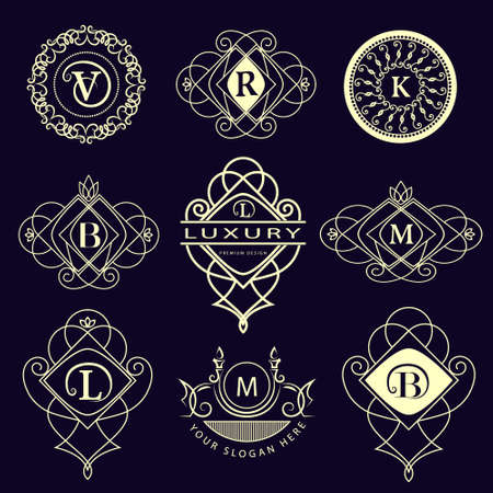Vector illustration of Monogram design elements, graceful template. Calligraphic elegant line art icon design. Letter emblem B, L, M, V, R, K for Royalty, business card, Boutique, Hotel, Heraldic Vettoriali