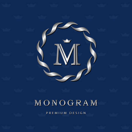 Vector illustration of Monogram design elements, graceful template. Elegant line art icon design. Letter emblem M. Retro Vintage Insignia or icon. Business sign, identity, label, badge, Cafe, Hotel