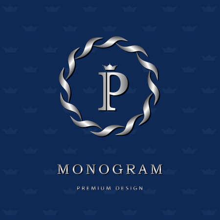 Vector illustratie van Monogram design elementen, sierlijke sjabloon. Elegante lijn art design icoon. Brief embleem P. Retro Vintage Insignia of pictogram. Uithangbord, identiteit, label, badge, Cafe, Hotel Stockfoto - 44062574