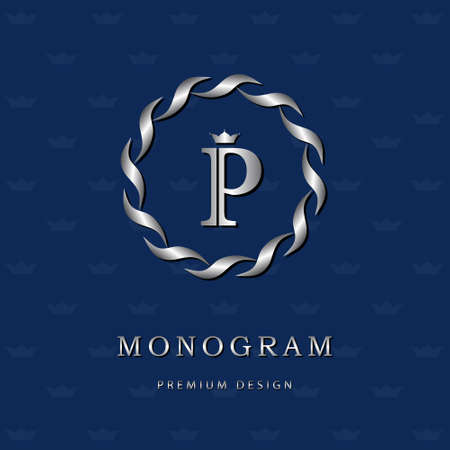 Vector illustration of Monogram design elements, graceful template. Elegant line art icon design. Letter emblem P. Retro Vintage Insignia or icon. Business sign, identity, label, badge, Cafe, Hotel