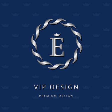 Vector illustratie van Monogram design elementen, sierlijke sjabloon. Elegante lijn art design icoon. Brief embleem E. Retro Vintage Insignia of pictogram. Uithangbord, identiteit, label, badge, Cafe, Hotel