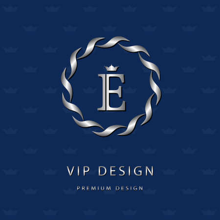 Vector illustration of Monogram design elements, graceful template. Elegant line art icon design. Letter emblem E. Retro Vintage Insignia or icon. Business sign, identity, label, badge, Cafe, Hotel