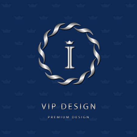 i label: Vector illustration of Monogram design elements, graceful template. Elegant line art icon design. Letter emblem I. Retro Vintage Insignia or icon. Business sign, identity, label, badge, Cafe, Hotel