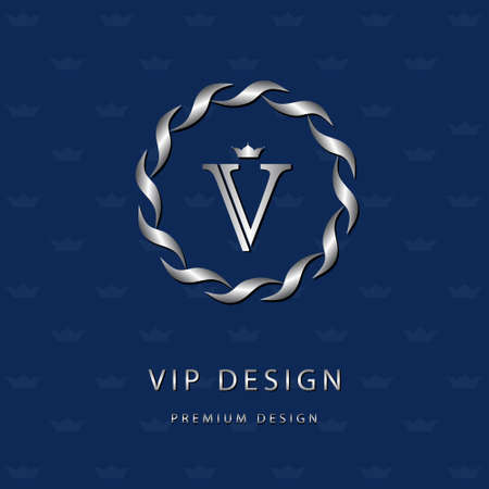 Vector illustration of Monogram design elements, graceful template. Elegant line art icon design. Letter emblem V. Retro Vintage Insignia or icon. Business sign, identity, label, badge, Cafe, Hotel