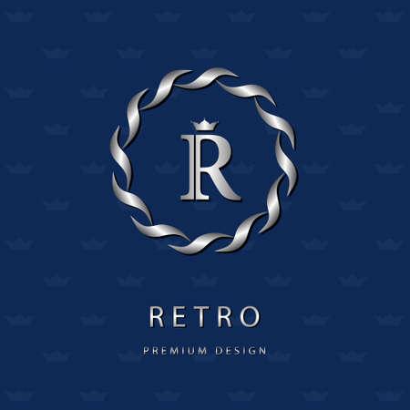 Vector illustratie van Monogram design elementen, sierlijke sjabloon. Elegante lijn art design icoon. Brief embleem R. Retro Vintage Insignia of pictogram. Uithangbord, identiteit, label, badge, Cafe, Hotel