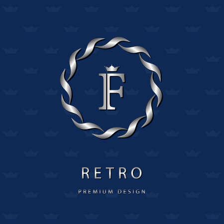 Vector illustratie van Monogram design elementen, sierlijke sjabloon. Elegante lijn art design icoon. Brief embleem F. Retro Vintage Insignia of pictogram. Uithangbord, identiteit, label, badge, Cafe, Hotel