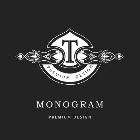 boutique hotel: Vector illustration of Monogram design elements, graceful template. Calligraphic elegant line art icon design. Letter sign emblem T for Royalty, business card, Boutique, Hotel, Restaurant, Cafe, Jewelry