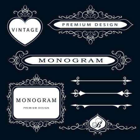 Vector illustratie van Monogram design elementen en pagina decoratie - vector set, sierlijke sjabloon.