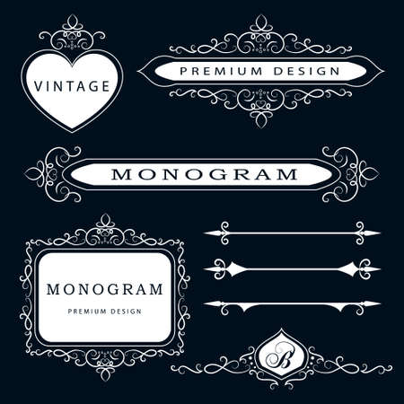 Vector illustration of Monogram design elements and page decoration - vector set, graceful template.