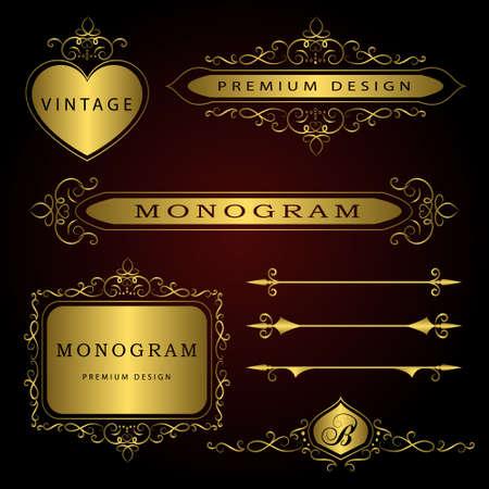 Vector illustratie van Monogram ontwerpelementen en pagina decoratie - vector set, sierlijk sjabloon.
