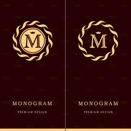 emblem: Vector illustration of Monogram design elements, graceful template. Letter emblem sign M.