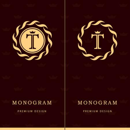 Vector illustration of Monogram design elements, graceful template. Letter emblem sign T. Stock Illustratie