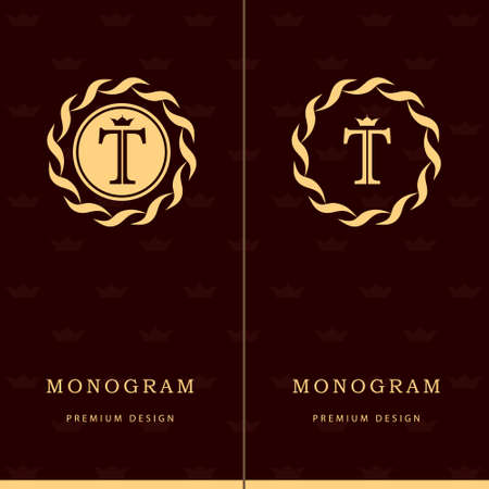 Vector illustration of Monogram design elements, graceful template. Letter emblem sign T. Çizim