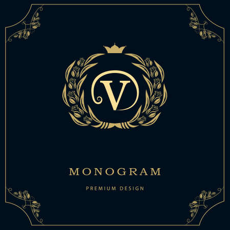 Vector illustration of Monogram design elements, graceful template.