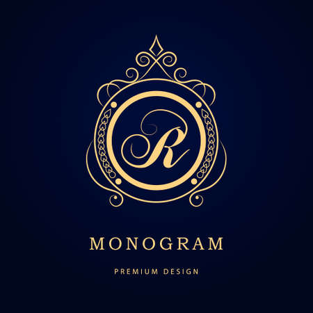 calligraphic design: Vector illustration of Monogram design elements, graceful template. Calligraphic elegant line art logo design. Letter emblem sign R for Royalty, business card, Boutique, Hotel, Restaurant, Cafe, Jewelry