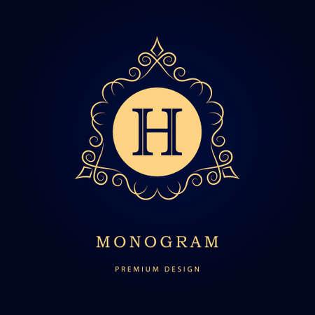 h: Vector illustration of Monogram design elements, graceful template. Calligraphic elegant line art logo design. Letter emblem sign H for Royalty, business card, Boutique, Hotel, Restaurant, Cafe, Jewelry