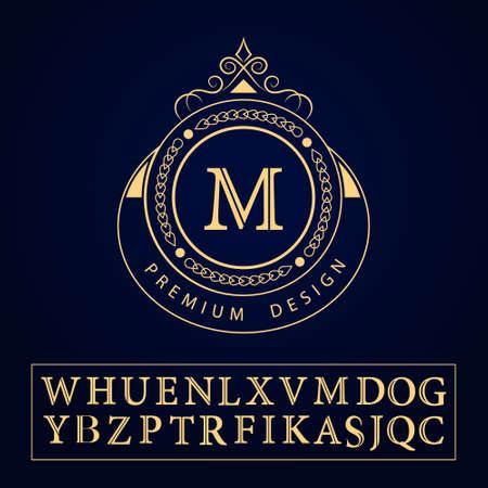 logo element: Vector illustration of Monogram design elements, graceful template. Calligraphic elegant line art logo design. Letter emblem sign M for Royalty, business card, Boutique, Hotel, Restaurant, Cafe, Jewelry