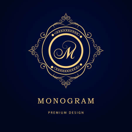 Vector illustration of Monogram design elements, graceful template. Calligraphic elegant line art logo design. Letter emblem sign M for Royalty, business card, Boutique, Hotel, Restaurant, Cafe, Jewelry