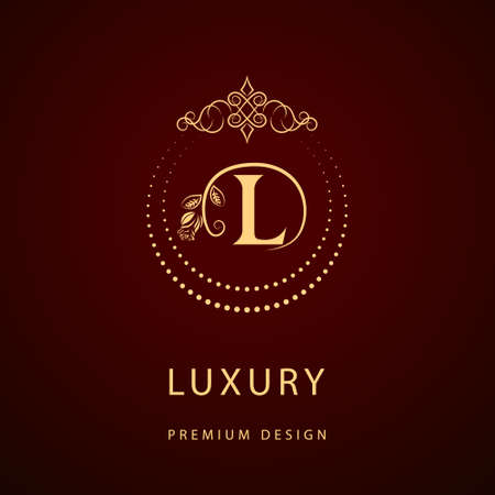 Vector illustration of Monogram design elements, graceful template. Calligraphic elegant line art logo design. Letter emblem sign L for Royalty, business card, Boutique, Hotel, Restaurant, Cafe, Jewelry Ilustração
