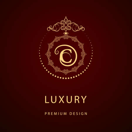 Vector illustration of Monogram design elements, graceful template. Calligraphic elegant line art logo design. Letter emblem sign C for Royalty, business card, Boutique, Hotel, Restaurant, Cafe, Jewelry Çizim