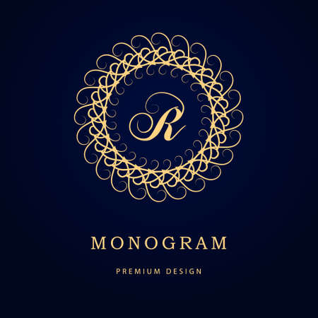 graceful: Vector illustration of Monogram design elements, graceful template. Calligraphic elegant line art logo design. Letter emblem sign R for Royalty, business card, Boutique, Hotel, Restaurant, Cafe, Jewelry